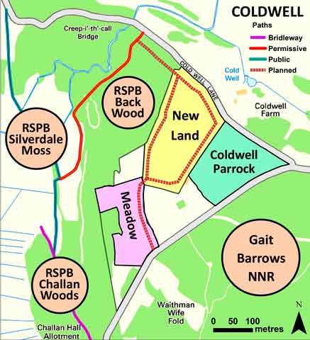 Map of new permissive pathways at Coldwell.