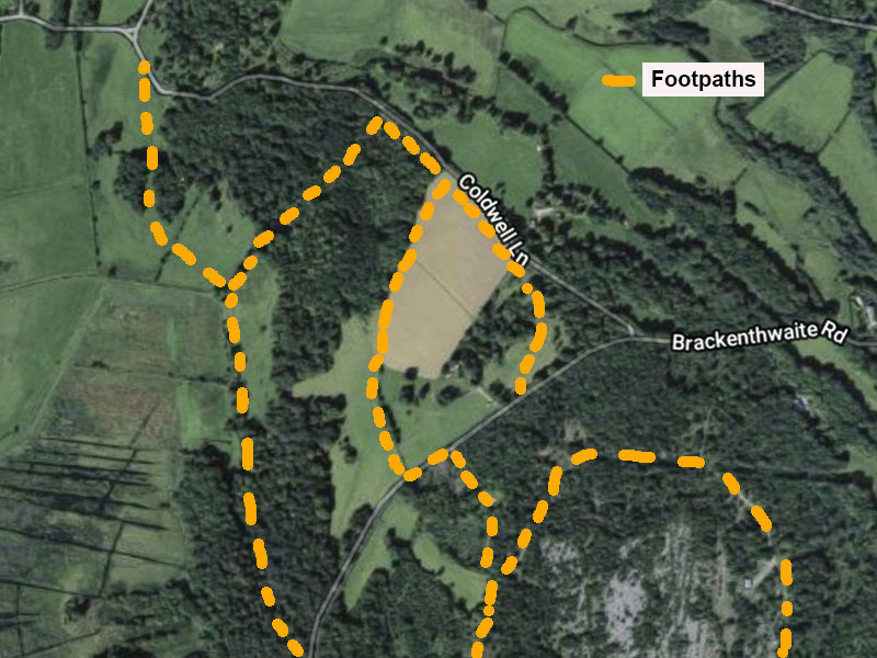 Map showing the new field linking with other footpaths [Map image Google Maps]