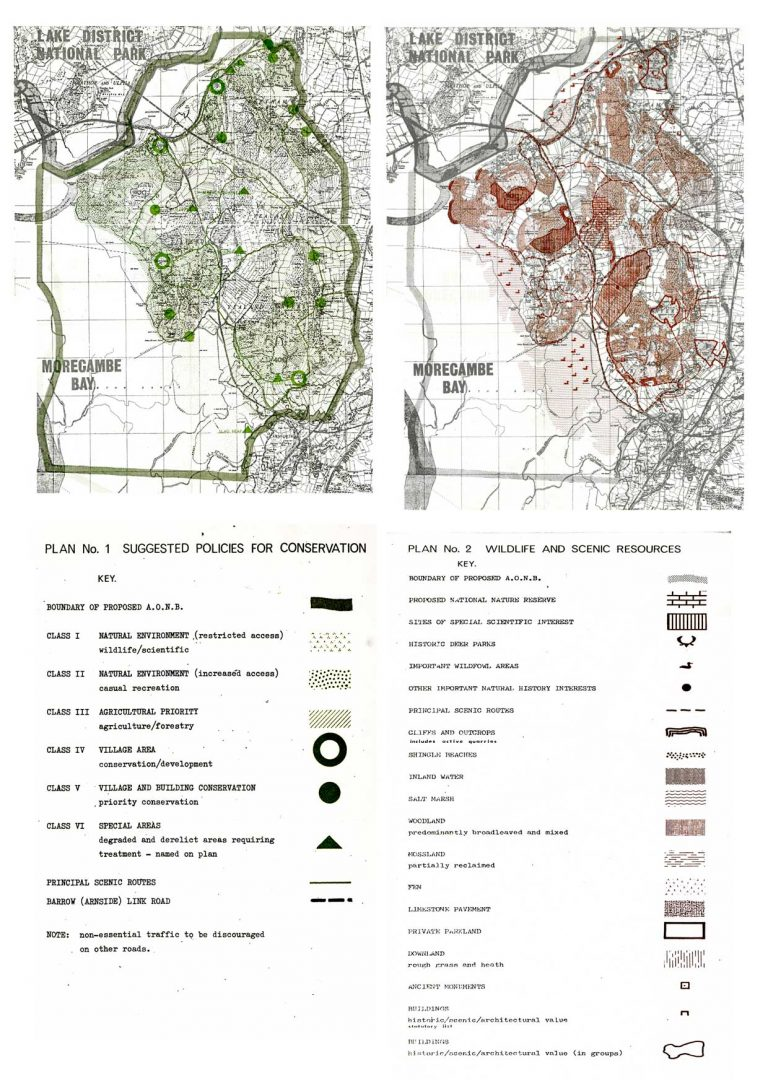 Draft maps from 1970 of proposed conservation management and development policies for the AONB.